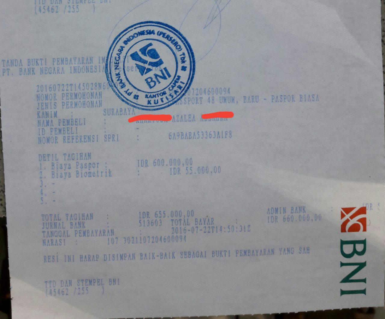bukti pembayaran BNI e paspor anak surabaya