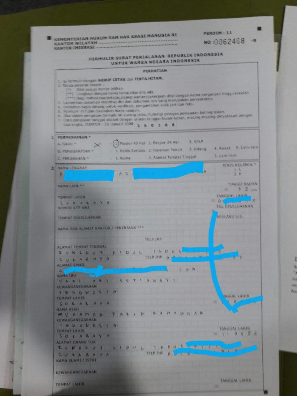 formulir e paspor anak surabaya