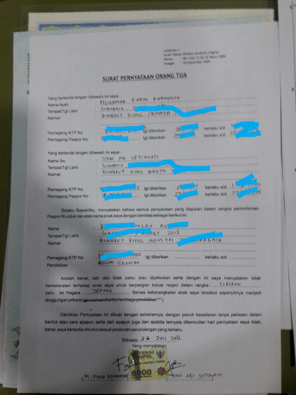 surat pernyataan orang tua e paspor anak surabaya