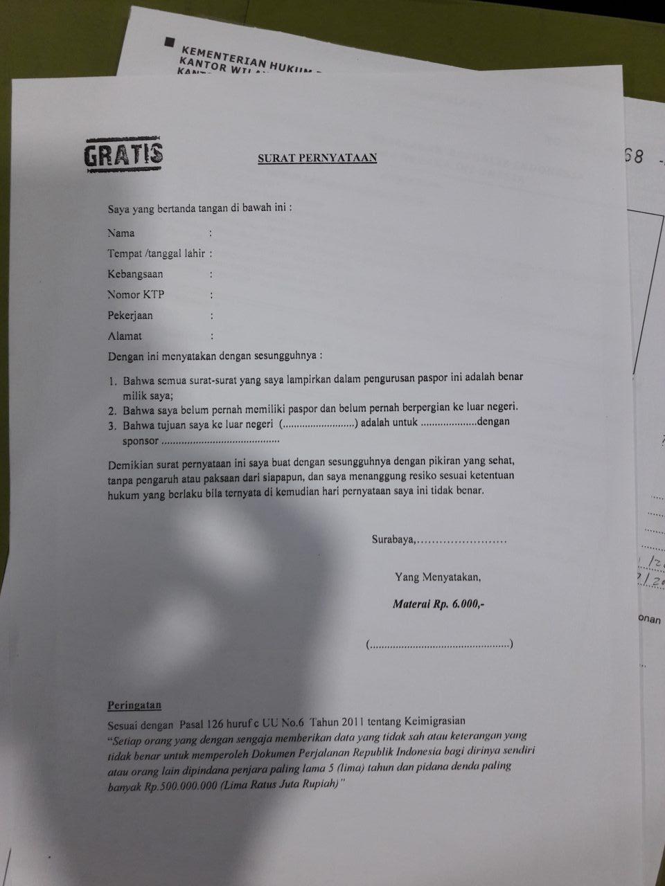 surat pernyataan belum punya e paspor anak surabaya