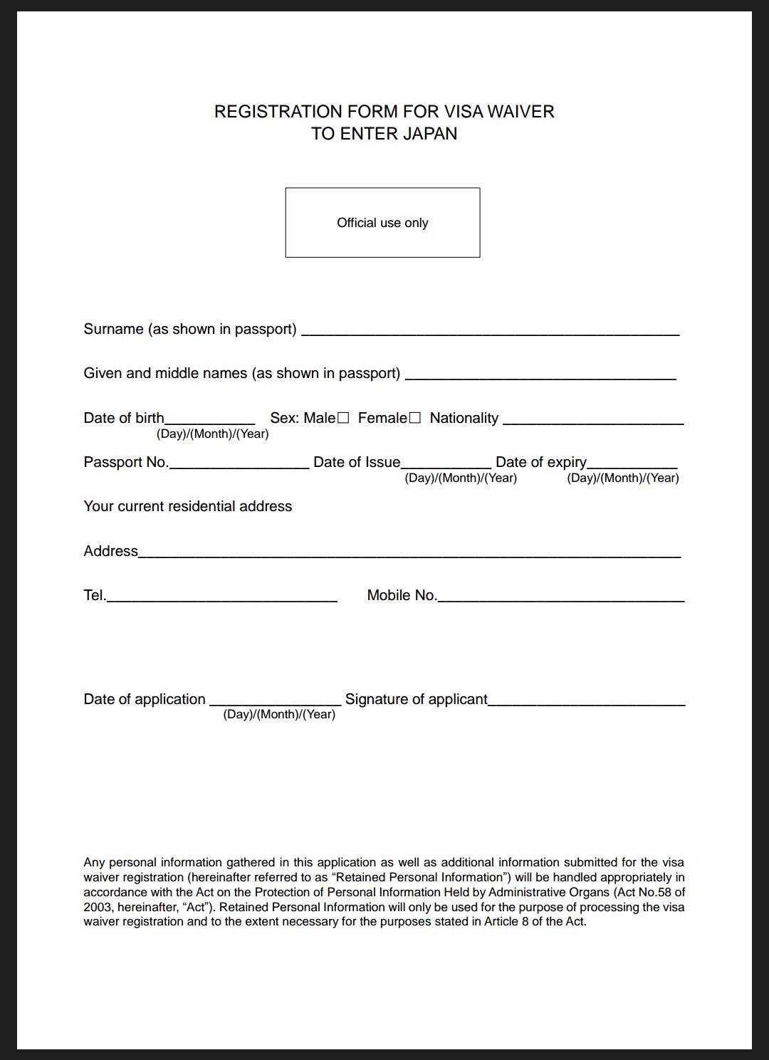 Formulir pengajuan bebas visa jepang