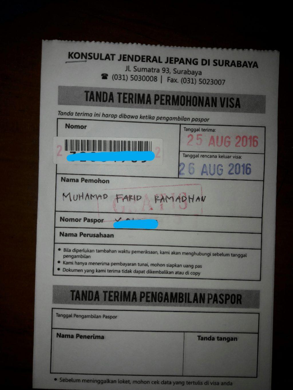 tanda terima pengajuan bebas visa