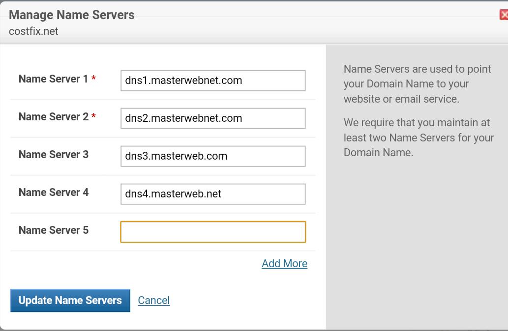 setting name server