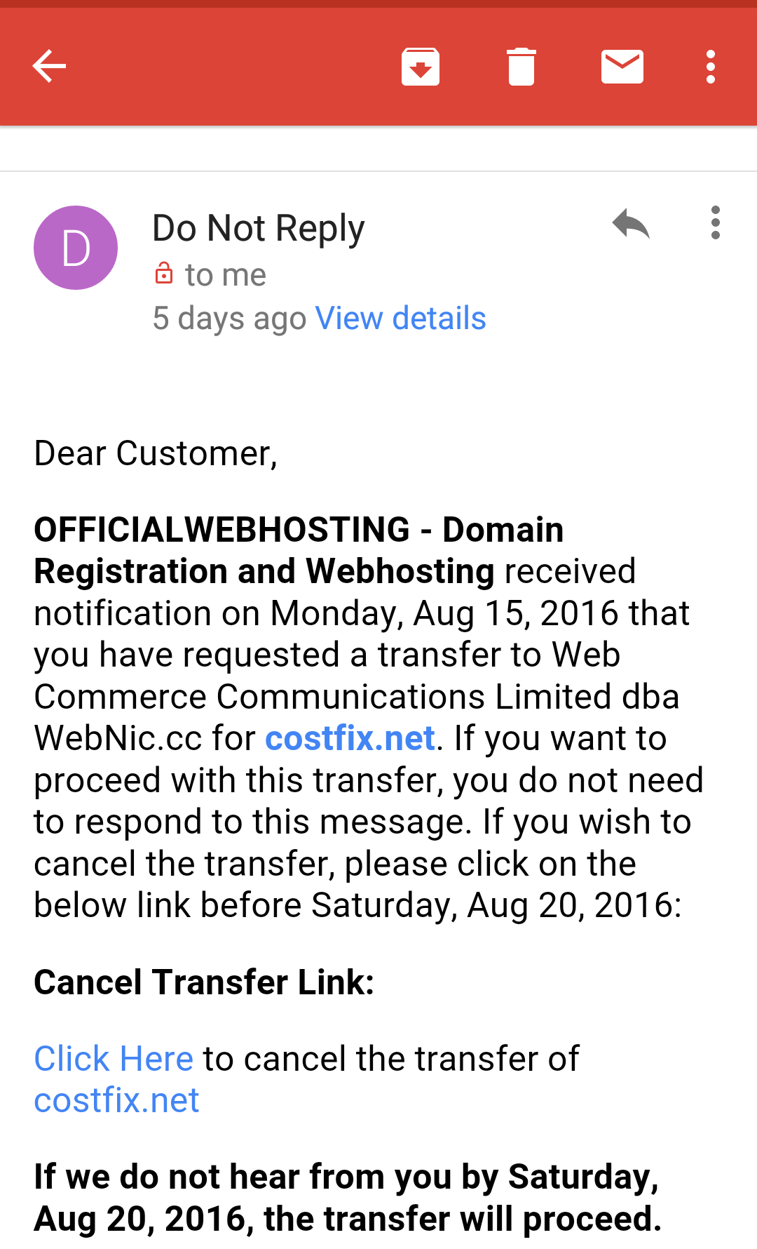 abaikan pembatalan transfer domain